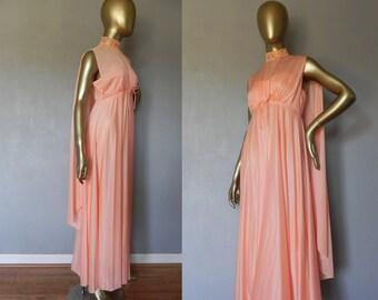 peach gown / chiffon cape / full length dress