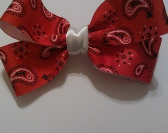 Red Paisley HairBow/Barrette