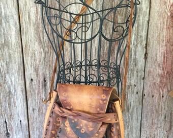 VINTAGE 70's saddle leather brown bag shoulder purse hand toiled hipster