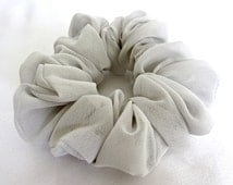 Skinny Hair Scrunchies in Silver Gray are Gentle Ponytail Holders for Girls and Women of all Ages