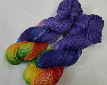 Twilight Rainbow Handdyed Cashmere Sock Yarn