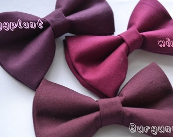 Wine/Burgundy/Eggplant bow ties For baby/Toddler/Teen/Adult/with Adjust strap/Clip on