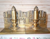 Vintage Bookends, Brass Cast Metal Bookends, Candle Bookends, Library Bookends, Library Decor, Office Decor