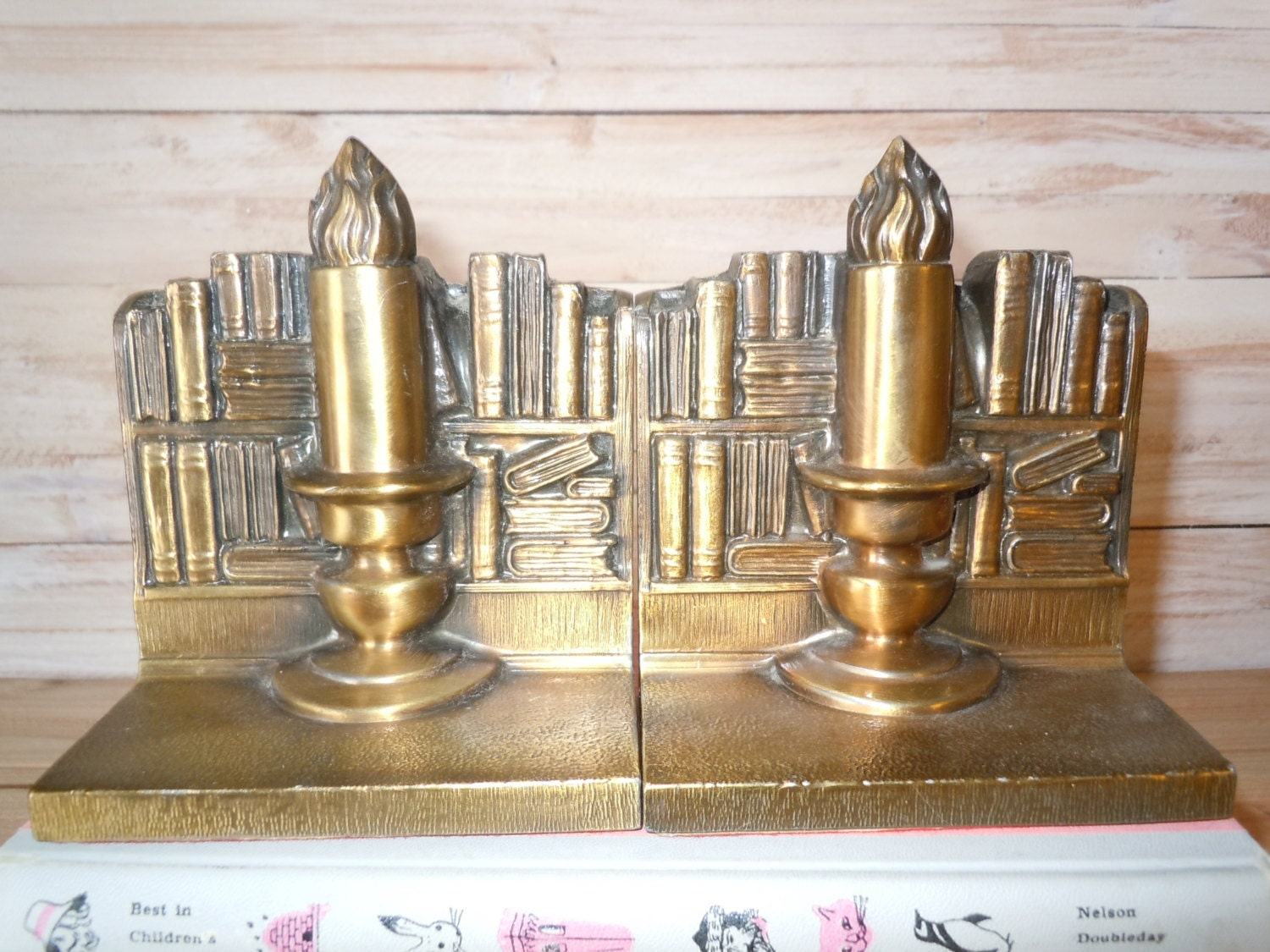 Vintage bookends brass cast metal bookends candle bookends - Antique brass bookends ...