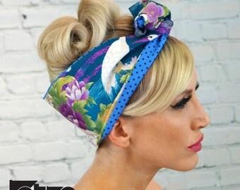 Vintage Blue Flower  Rockabilly Pin up  Wide Reverisble Wired Headband Headwrap