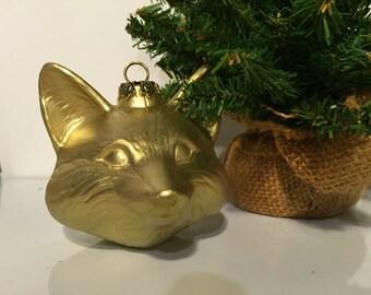 Fox Christmas / holiday Ornament ceramic metallic gold furry woodland friend, secret santa, office party gift
