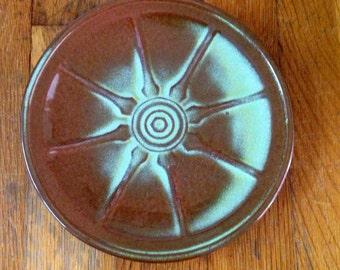 Vintage Frankoma Pottery Wagon Wheel Prairie Green Plate Set