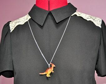 Brown Parasaurolophus Dinosaur Necklace