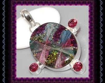 Dichroic Glass & Garnet Pendant