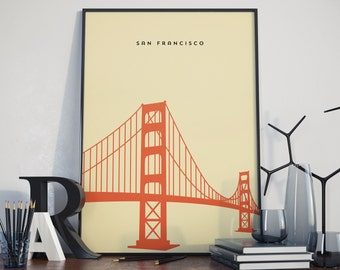 Golden Gate Bridge, San Francisco, Print. Poster.