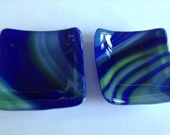 Set of 2 Fused Glass Trinket Dishes