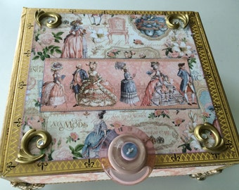 Victorian Splendor Memory & Keepsake Box Decorative Box Embellished Box Altered Cigar Box