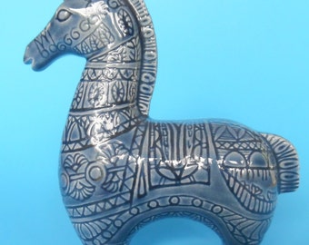 CERAMIC HORSE Mid Century Modern BITOSI Style Engraved Incised Designs Blue Etruscan Equestrian Italian Art Pottery Glazed Italy Vintage