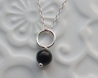 Black agate semi precious sterling silver necklace