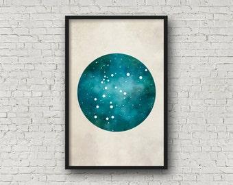 Aquarius Constellation, Wall Art Prints, Art Print Poster, Aquarius Art, Aquarius Zodiac, Zodiac Print, Zodiac Art