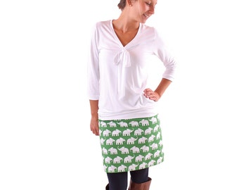 """Manfred"" mini skirt green with white elephant"
