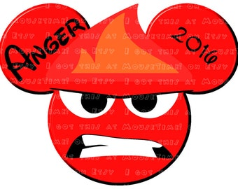 IRON-ON Anger Ears - from Inside Out! - Mouse Ears Tshirt Transfer / Decal