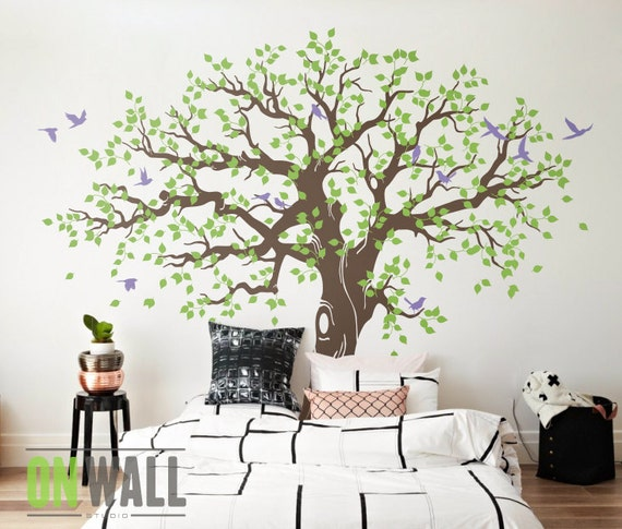 Large family tree wall decal nursery tree wall decals tree - Arbre genealogique stickers ...