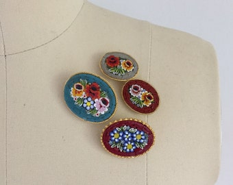 Vintage Italian Mosaic Brooches 1960s Set of 4 Mid Century Costume Jewelry