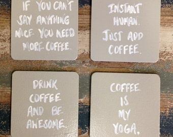 Coffee Coasters, Drink Coasters, Funny Coasters, Hand-painted Coasters, Mug Coasters, Coffee Gift