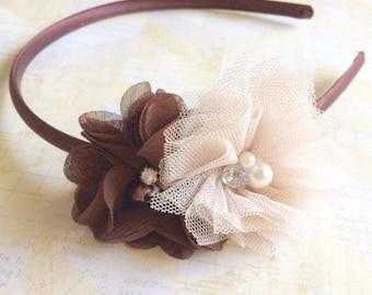 Brown and tan hard headband,girls headband,flower girl headband,flower girl,satin headband,wedding headband