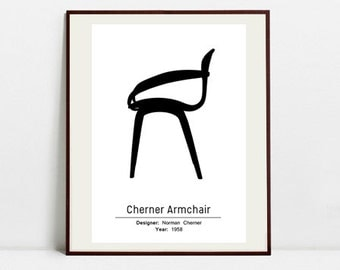 cherner chair poster black and white art print digital download art print