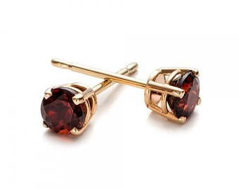 1/2 carat garnet stud earrings-Red garnet-Handmade garnet stud earrings-14 k Yellow gold earnings-Natural  garnet-Gift idea for her