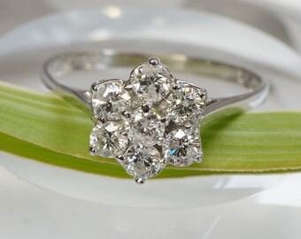 Flower Diamond Ring - Diamond Engagement Ring - White Gold Ring - Bridal Jewelry - Anniversary Gift - Women's Ring - Gift for Her