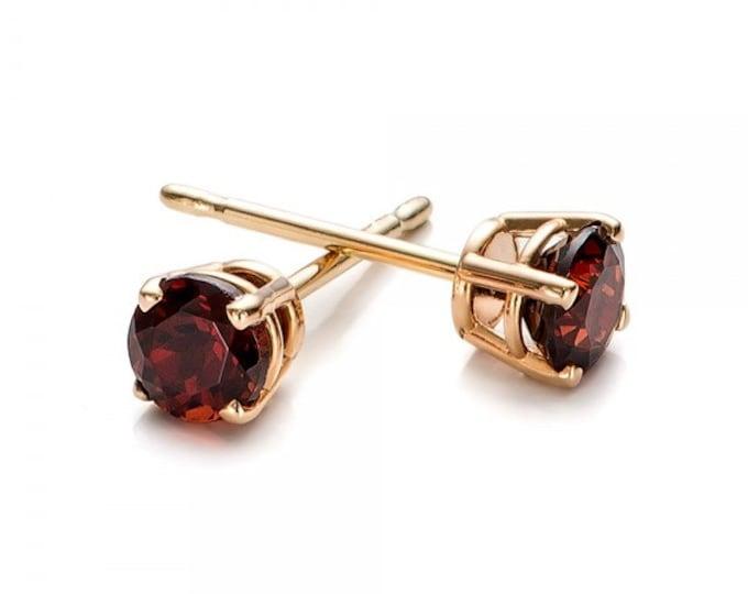 1/2 carat garnet stud earrings-Red garnet-Handmade garnet stud earrings-14 k Yellow gold earnings-Natural  garnet-Gift idea for her