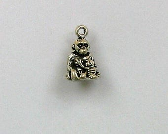 Sterling Silver 3-D Gorilla & Baby Charm