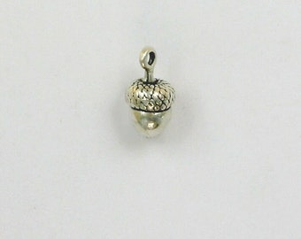925 Sterling Silver Acorn Charm, Nuts & Trees Theme - fhg30