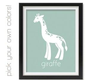 Baby Room Art Print, African Giraffe Nursery Decor, Toddler Animal Prints for Nursery, Jungle Nursery Animals Art for Kids Room, Afri004