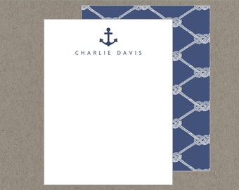 Set 20 Preppy Navy Anchor Personalized Flat Note Cards with Envelopes -Nautical Knots  - Social Stationery