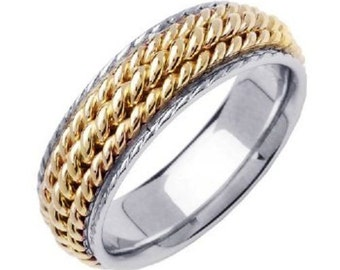 Three Strand Hand Braided Cord Wedding Ring
