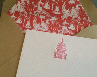 Letterpress Chinoiserie Pagoda Stationery with Liner-Pink