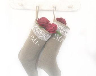 Custom Christmas stockings    Mr and Mrs Christmas stocking   Embroidered stocking embroidered Christmas stocking