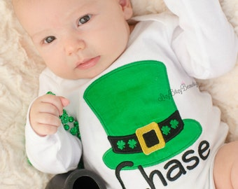 Boy girls top hat St. Patrick's day shirt bodysuit embroidered custom name