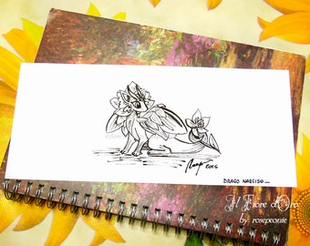 Dragon illustration - Narcissus dragon with flower. Original Haiku ink drawing on high quality paper, legend myth Italy art collection OOAK