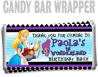 CBW-840: Alice In Wonderland Inspired Candy Bar Wrapper To Match Your Theme