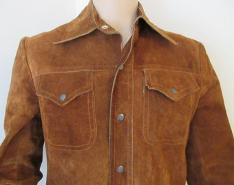 Vintage 1970's Mens Suede Jacket Made By 'Himalaya' - Size Small