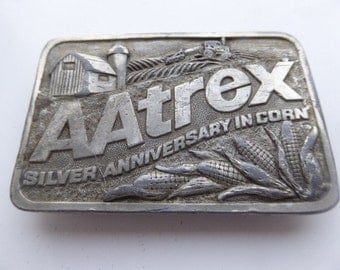 Vintage 1985 'AAtrex' Belt Buckle MADE IN USA - 'Silver Anniversary In Corn' - Rare!