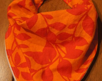 orange floral bandana bib