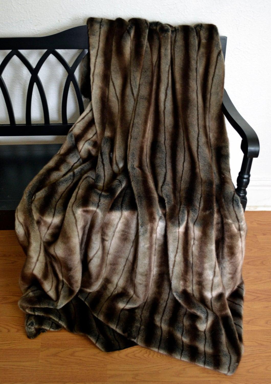 tissavel faux fur silver brown blanket throw mink fur. Black Bedroom Furniture Sets. Home Design Ideas