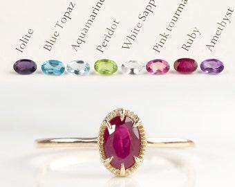 14k gold dainty solitaire ring, Lolite Blue topaz Aquamarine Peridot White sapphire Pink tourmaline Ruby Amethyst, birthstone ring ado-r105