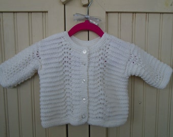 Hand Knit White Baby Sweater/Baby Gift/Shower Gift/Baptismal Sweater/6 Month Size