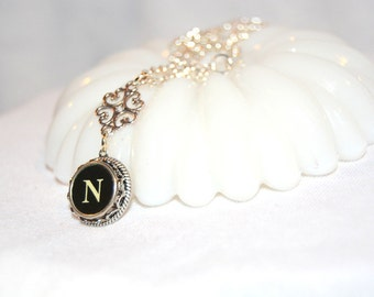 Typewriter Key Necklace, Handmade Vintage Style, Personalized with a Letter N Initial, Initial Jewelry, gift for Her.