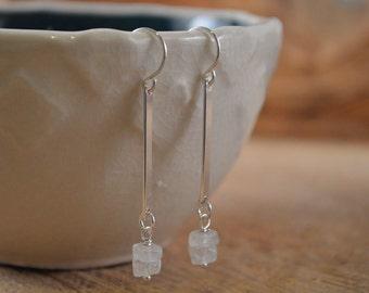 Moonstoone Sterling Silver Earrings, Moonstone Gemstone, Gemstone Earrings, Natural Moonstone, Sterling Silver Dangle