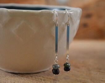 Tourmaline Sterling Silver Earrings, Tourmaline Gemstone, Green Tourmaline, Gemstone Earrings, Natural Tourmaline, Sterling Silver Dangle