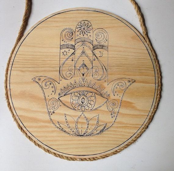 Hamsa Hand Round Wall Art, Boho Design, 50cm Natural Timber Porthole
