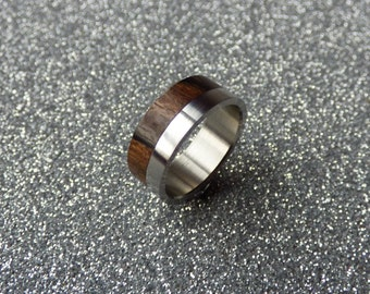 stainless steel and ziricote wood ring